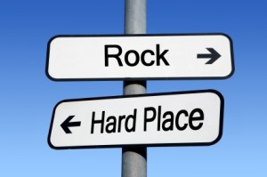 rock and a hard place
